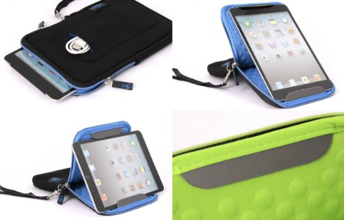 Padded Neoprene 7 Inch Tablet Zip Sleeve Case with Built-in Viewing Stand
