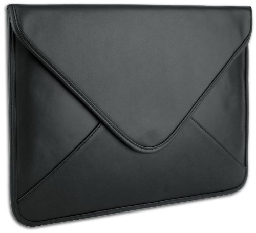 Black Soft Synthetic Leather Envelope Sleeve Carrying Case