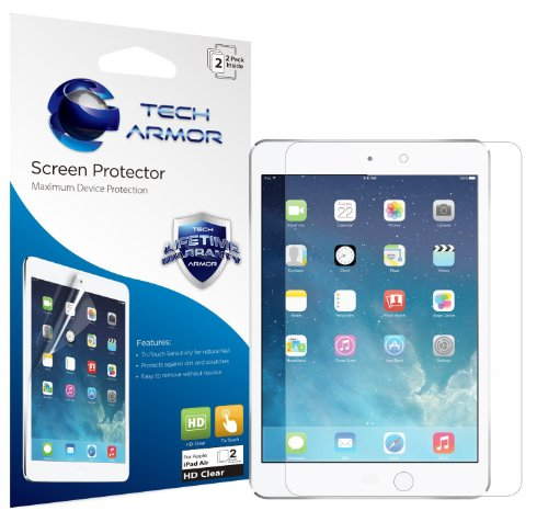 Tech Armor Apple iPad Air High Definition Clear Screen Protectors